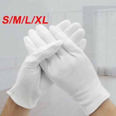 6Pairs White Coin Jewelry Silver Inspection Cotton Gloves - Size S M L XL