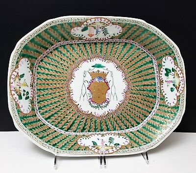 Chinese Famille Rose Armorial Porcelain Platter Tray Bishop of Oporto Portugal