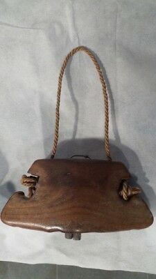 Antique Mid 19th century TREEN COW BELL in carved ELM , Austrian or Swiss