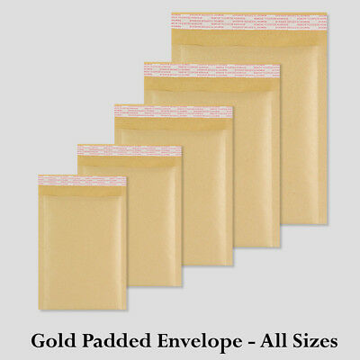 All Sizes Gold Padded Bubble 5 10 25 50 100 500 Envelopes - Best Quality
