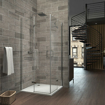 Shower Enclosure And Tray Hinged Pivot Door Frameless Cubicle Glass Corner Entry