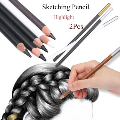 2pcs Professional White Art Sketching Pencils Sketch Drawing Charcoal Pencil Set