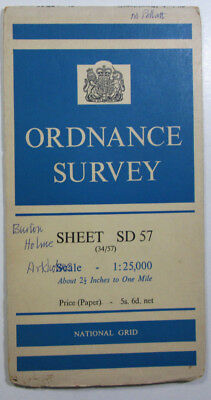 1961 old OS Ordnance Survey 1:25000 First Series Map SD 57 Burton Westmorland