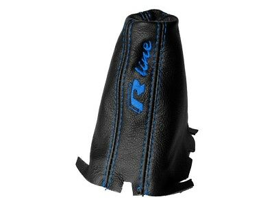 """Shift Boot For Volkswagen Golf 7 DSG 2013-2018 Leather """"R-Line"""" Blue Embroidery"""