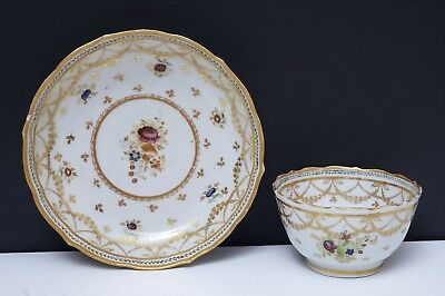 18th c Antique Chinese Export Famille Rose Porcelain Cup & Saucer w Gold Swags