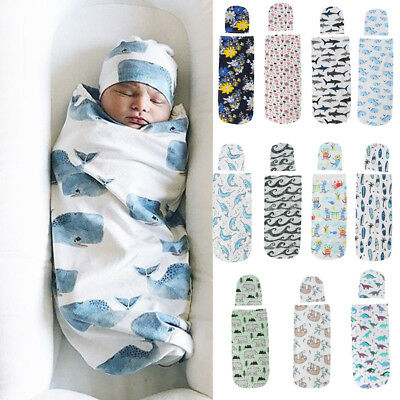 US 2PCS Newborn Baby Girl Boy Swaddle Wrap Blanket Sleeping Bag+Hat Outfits Set