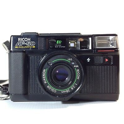 Vintage RICOH AF-5D Point & Shoot 35mm Camera Wide 38mm Lens