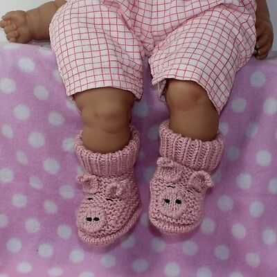 Printed Instructions-Baby Piggy Boots Bootees Booties Animal Knitting Pattern