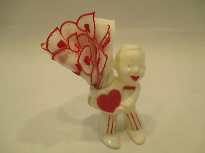 Vintage Rosbor Plastic Valentine Candy Container & Embroidered Handkerchief NICE
