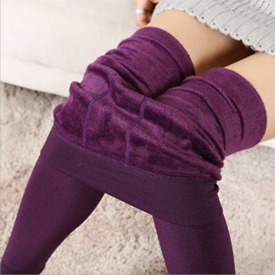 Women's Solid Winter Thick Warm Fleece Lined Thermal Stretchy Leggings Pants W0