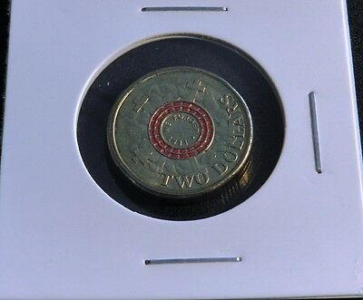 2015 Lest We Forget Un-Circulated Red $2 Coin In 2 X 2 Holder