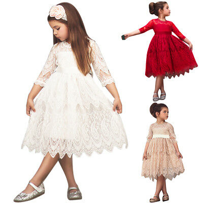Vintage Lace Girl Dress for Kids Wedding Birthday Princess Evening Pageant Party