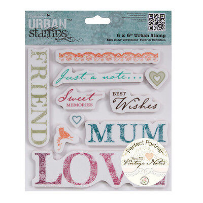 "Papermania 'Vintage Notes' 'Sentiments' 6""x6"" Urban Cling Stamps *Free UK P+P*"