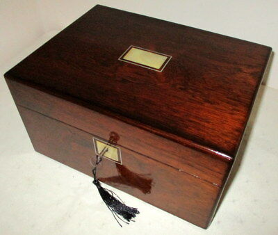 STUNNING VICTORIAN ROSEWOOD & MOP BOX with side drawer and key