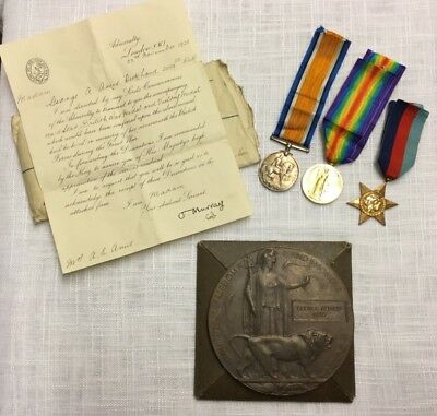 Trio & Death Plaque WW1+WW2 medals ... 1914 /1915+1939-1945 STAR WITH LETTER