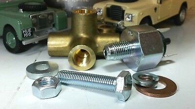 Brass Brake Pipe Union 4 Way Pressure Connector Fittings & Brake Light Switch