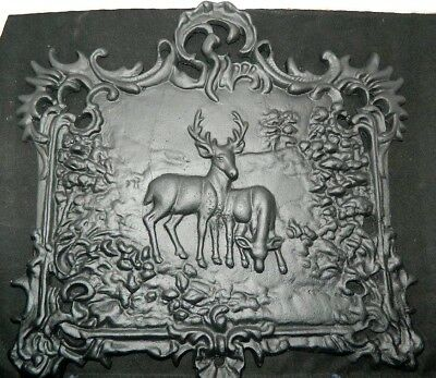 Antique Rare 1890's Ornate Cast Iron Fire Back Of Forest Scene With Deer Grazing