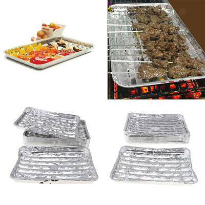 40x Disposable Aluminum Foil Rectangular Cake Pan BBQ Barbecue Grilling Tray