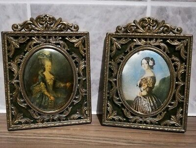 Antique Pair of Italian Rococo Brass Picture or photo Frames, silk portraits Inc