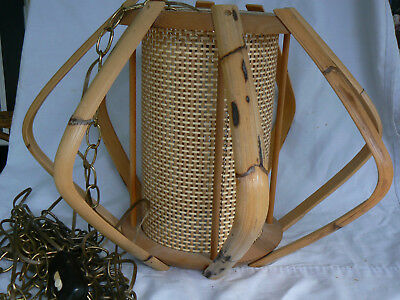 Mid Century Bamboo and Rattan Hanging Lamp very space age looking.
