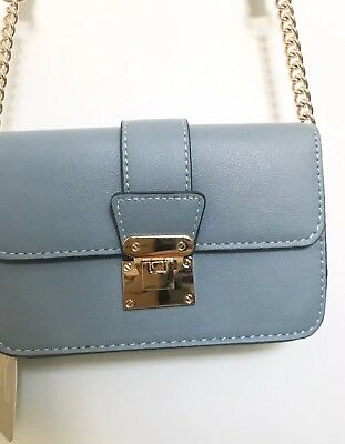 ACCESSORIZE Leather Pale Blue Gold Chain Cross Body Bag Spring Trend Blogger