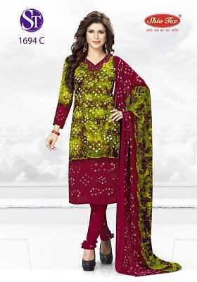 Ethnic Trendy Latest Crepe Unstitched Salwar Kameez Synthetic Bollywood Printed