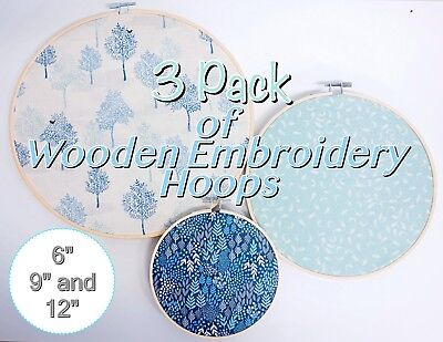 "3 Pack Budget Friendly Wooden Bamboo Hand Embroidery Hoops ~ 6"" + 9"" + 12"""