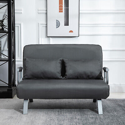 Two Person Convertible Sofa Bed Twin Lounge Couch Folding Arm Grey