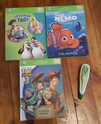 Leap Frog Tag Reading Pen And 3 Books Toy Story Nemo Tinkerbell