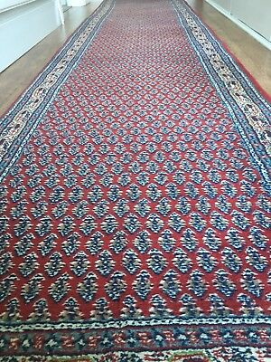 Sarouk Persian Runner Rug 380 X 84cm Hand Knotted Carpet