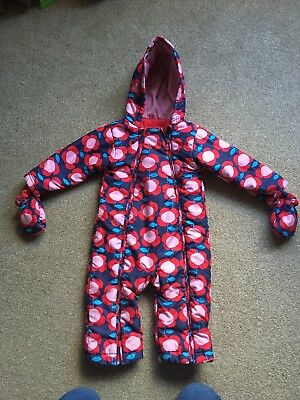 M&s Girls Snowsuit 12-18, Red, Pink And Blue