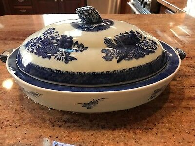 Antique 1850's Chinese Canton Warming Dish Covered Serving Platter Blue, White