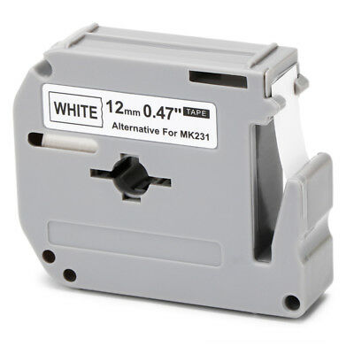"""1PK MK-231 Label Tape Compatible for Brother P-touch Labelers(White,12mm ,0.47"""")"""