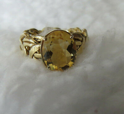Technibond® Sterling Silver Citrine Byzantine-Style Band Ring-Size 7 - 5.0 Grams