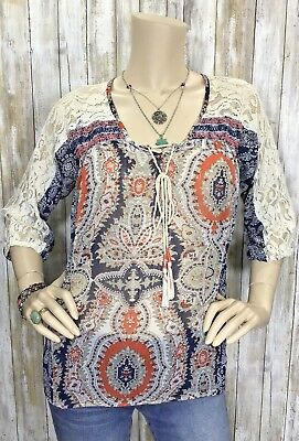 Miss Me Small Lace Sheer Embroidered Paisley Top Shirt Blouse Boho Peasant