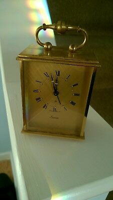 Vintage Small Heavy Brass? Swiza Clockwork Carriage Mantle Clock - non working