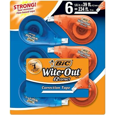 BIC Wite-Out Brand EZ Correct Correction Tape White 6 Count ( white out )