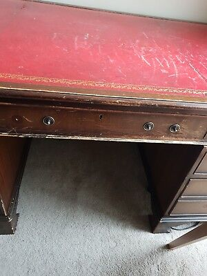 Pedestal Desk. Red Leather Top.
