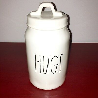 """New RAE DUNN Valentines Day LL """"HUGS"""" 8.5"""" Canister By Magenta"""