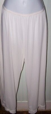 VTG Soft White SHADOWLINE Nylon Lingerie Long Petti Pants ~Large