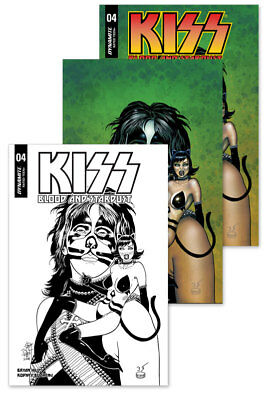 3x KISS BLOOD AND STARDUST #4 JIM BALENT JETPACK/FP EXCL VAR; BW VIRGIN Dynamite