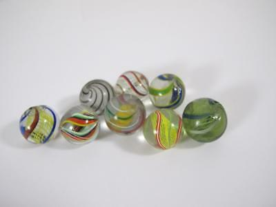 Lot Of 8 Antique Vintage Germany Latticino Swirl Glass Marble Hand Made