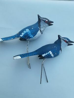 Vintage Hand Painted WOOD CARVED BLUE JAYS  BIRDS Group of 2 Over 30 yrs Old!