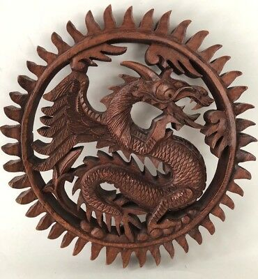 """Carved DRAGON Wood Wooden Plate Wall Sculpture Art Vintage Asian 9.5"""" Indonesia"""