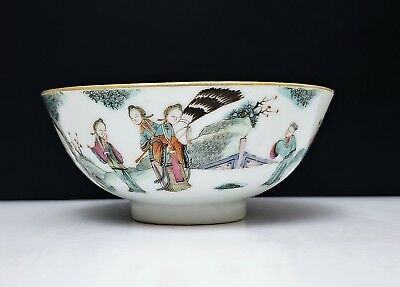 19th c Antique Chinese Famille Rose Porcelain Bowl Tongzhi Mark
