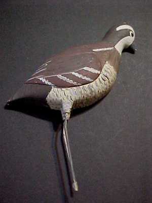 1/2 BIRD  HP WOOD CARVED Quail or Bob White - Ready to Mount - 30 years Old!