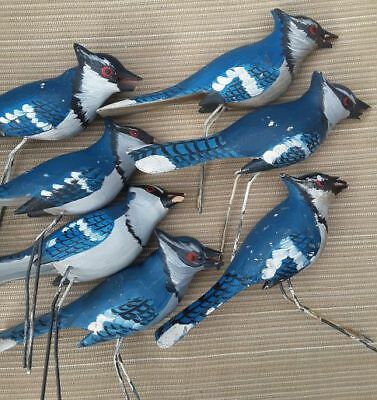 BAD BIRD BUNCH HP WOOD CARVED 7 BLUE JAYS Over 30 years Old! NEED REPAIR