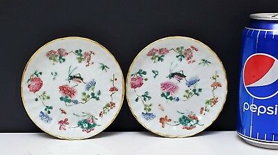 Pair Antique Chinese Famille Rose Porcelain Spoon Trays Insects w Tongzhi Mark