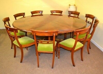 Bespoke 7ft Regency Flame Mahogany Jupe Dining Table & 10 chairs 21st C