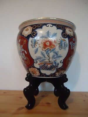 """Vintage Large Asian Chinese Planter Pot Koi Fish Bowl With Wood Stand 18-1/4"""""""